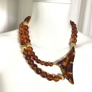 Vintage Amber Tortoise Shell Lucite Necklace
